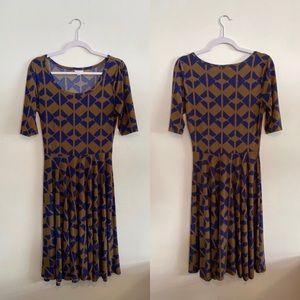 LuLaRoe Blue & Bronze Dress